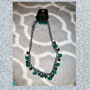 Turquoise gem necklace and earring set